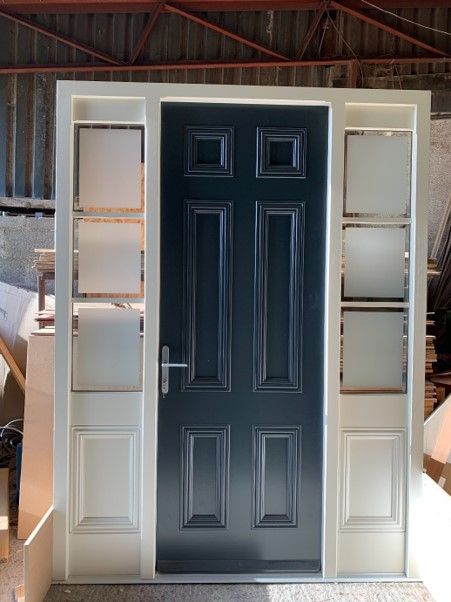 Tall bespoke door with half frosted panels and half wood