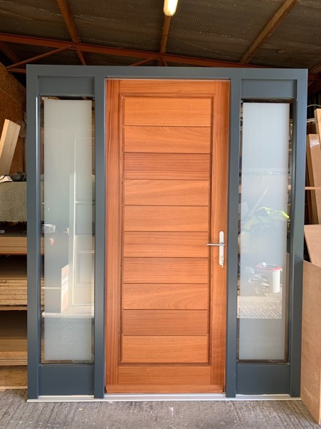 Wooden Door with Frosted Side Panels